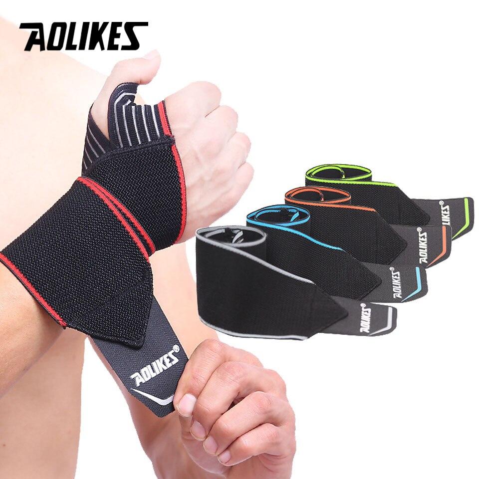 d3a4bc7276fc AOLIKES 1 par Crossfit Fitness muñequera correas guantes gimnasio  Weightlifting deportes pulsera ...