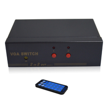 HighTek HK-V2T2R 250MHZ VGA switcher box 2 port for VGA signal input, 2 ports VGA signal output with remote