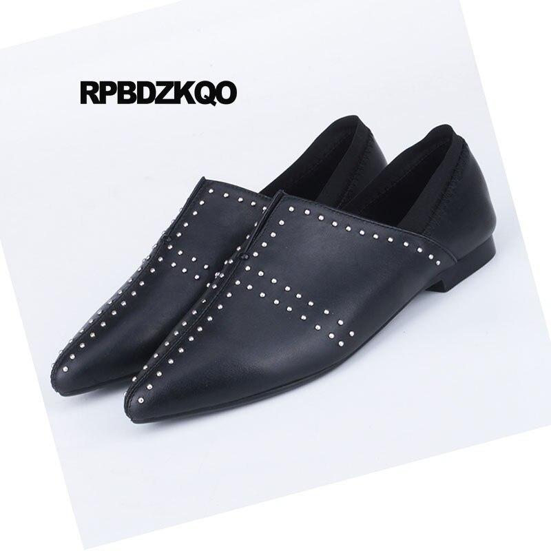 2f5f7b5e6bdbc9 Femmes Italien Véritable En Chaussures Sur Luxe blanc Patent Noir Leather  Élastique Métal 2018 Appartements black Blanc Boucles Rivet ...