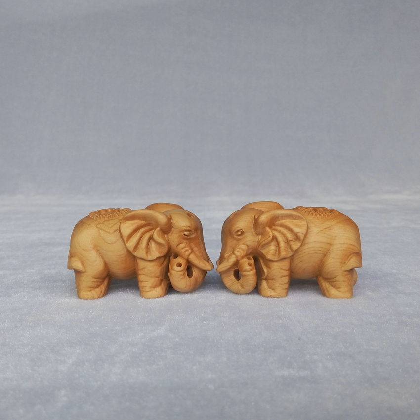 2 Pcs/Lot Wood carving Elephant wooden crafts animal desktop Decoration home decorations ornaments(A851)