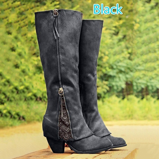 f4d18665b2e 2017 NEW Women Fashion Riding Boots Fold Over Design Near Ankle with Lace  Detailing At Edge Plus Size Black Knee-High Boots