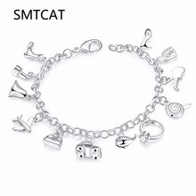 European And American Bus Aircraft Bags Shoes 12 Pendant Bracelets Style Charm Bracelets For Women Valentine's Day Gifts(China)