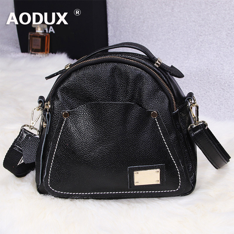 AODUX Small Soft Genuine Leather Fashion Shoulder Bag Messenger Cross body Designer Satchel Hobo Bags Handbag Ladies Satchel fashion genuine real cowhide leather bucket women handbag shoulder designer purse cross body satchel hobo messenger lady bag