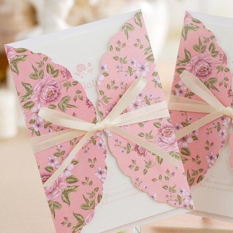 50 piezas patrón de flor Rosa Boda Invitaciones tarjetas tarjeta de felicitación 3D Tarjeta de corte láser postal evento Fiesta suministros-in Tarjetas e invitaciones from Hogar y Mascotas    2