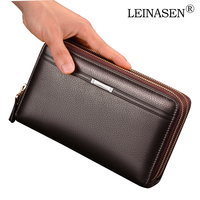 LEINASEN Luxury Brand Business Men Wallets Long PU Men S Leather Cell Phone Clutch Purse Handy