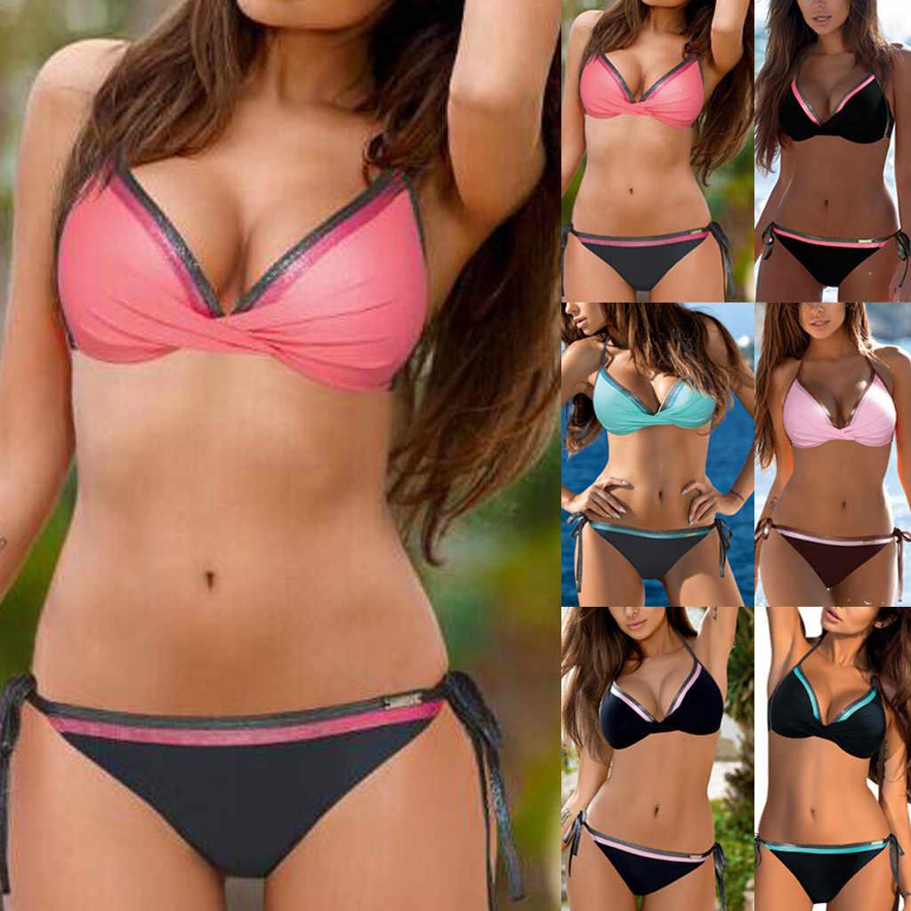 25569ebd582f1 Bikini 2019 Sexy Women Bandeau Bandage Bikini Set Push-Up Brazilian Swimwear  Beachwear Swimsuit Bathing