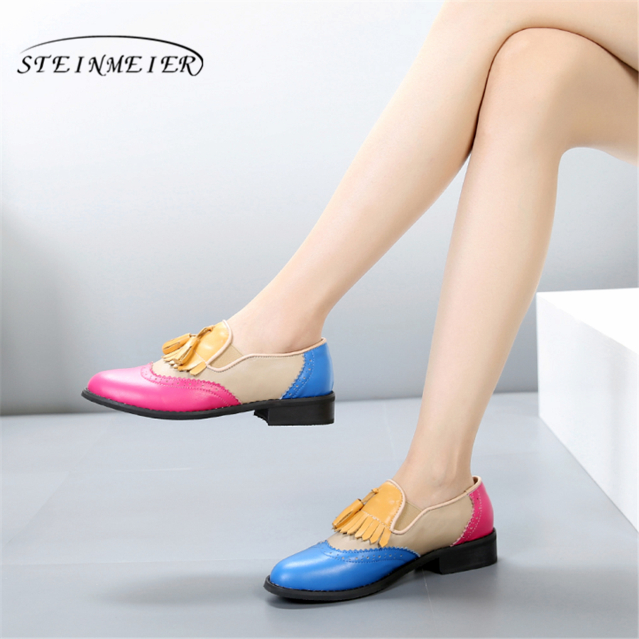 Kvinner oxford Vårsko ekte skinn loafers for kvinners sneakers kvinnelige oxfords damer single shoes strap 2019 sommer sko