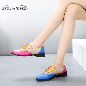 Image 1 - Women oxford Spring shoes genuine leather loafers for woman sneakers female oxfords ladies single shoes strap 2020 summer shoes