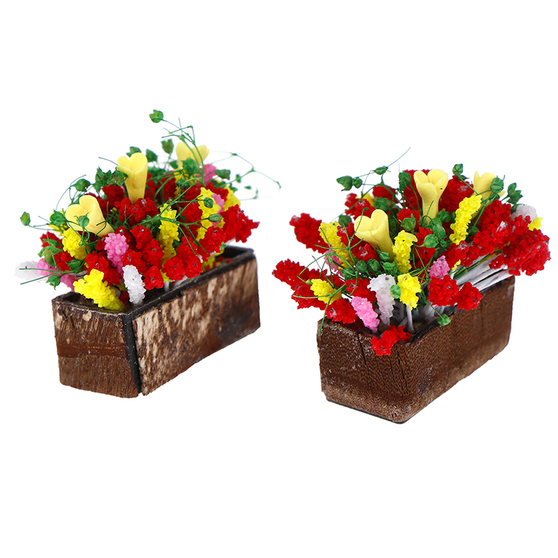 1:12 Scale Dollhouse Clay Flower Basket Miniature Potted Plants Kid Toy Decor
