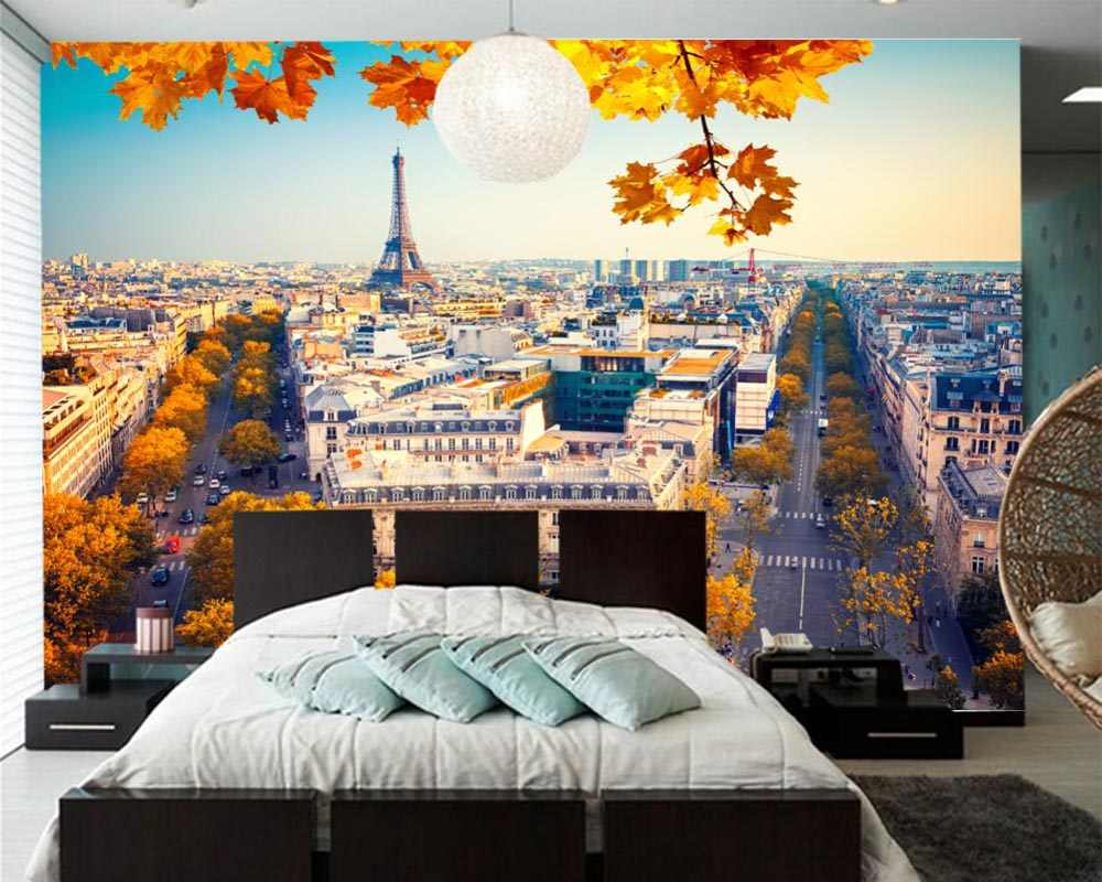 Papel de parede France Houses Autumn Paris Street 3d wallpaper,living room bedroom sofa TV wall kitchen wall papers home decor