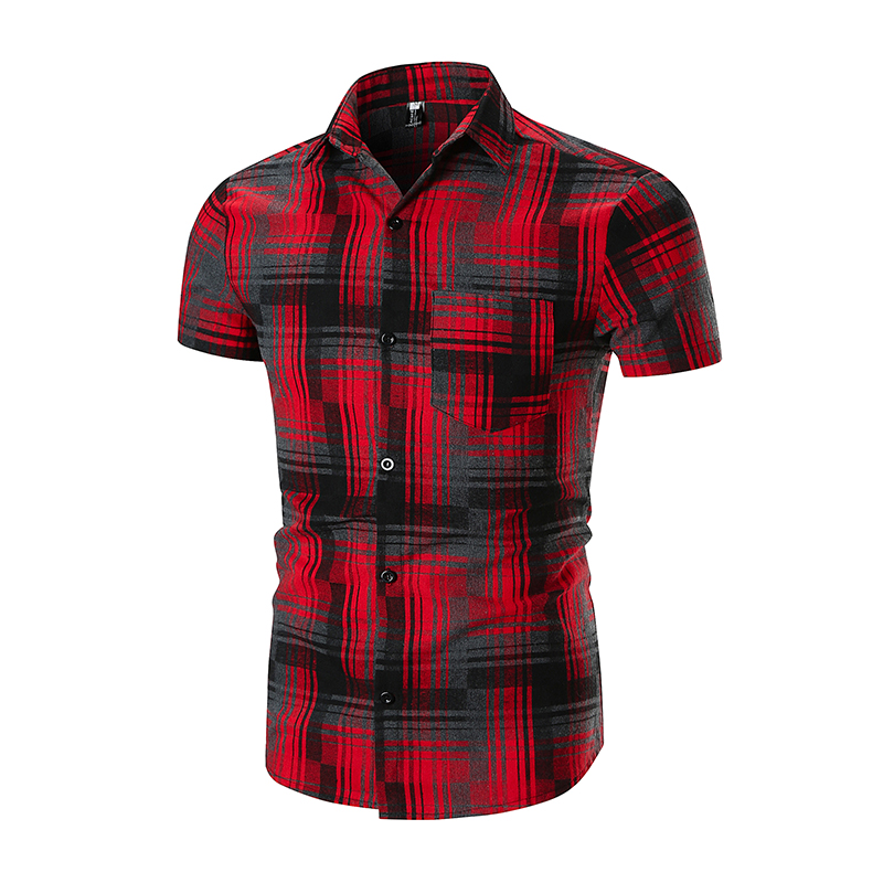 Mens Short Sleeve Shirt 2018 Brand Fashion Casual Slim Plaid Shirt Men Cotton Plus Size Pocket Decoration Top Clothes ...