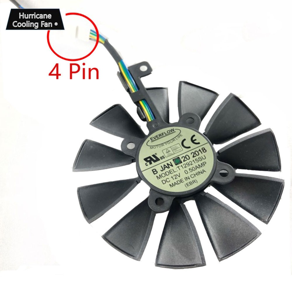 New 87MM Everflow T129215SU DC 12V 0.5AMP 4Pin 4 Wire Cooling Fan for ASUS GTX980Ti R9 390X 390 GTX1070 Graphics Card Fan image