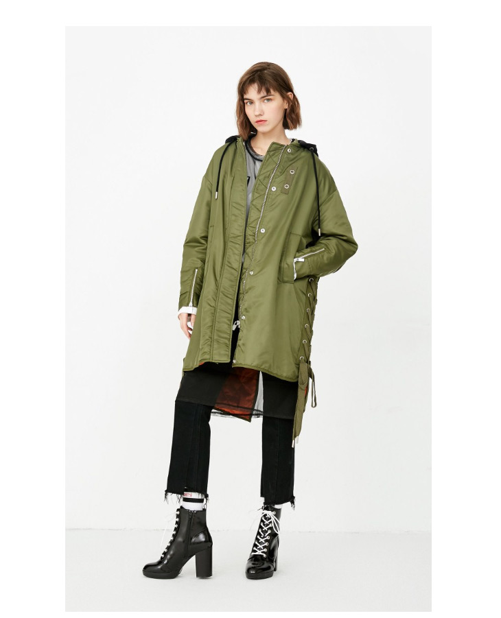 ONLY Women's Lace-up Hooded Cotton Coat |118122502 8