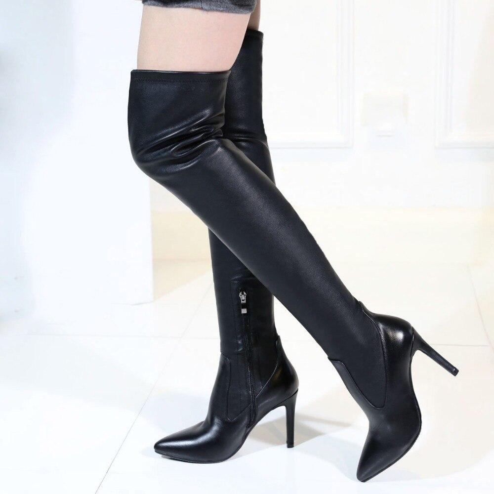 Sur Au Pointu Haute Bottes Des Femme Talons L'intention Noir Qualité Belle Chaussures 4 Mince Genou 10 1187 Us Initiale Femmes De Bout 5 Nouveau Taille YCtCOqw
