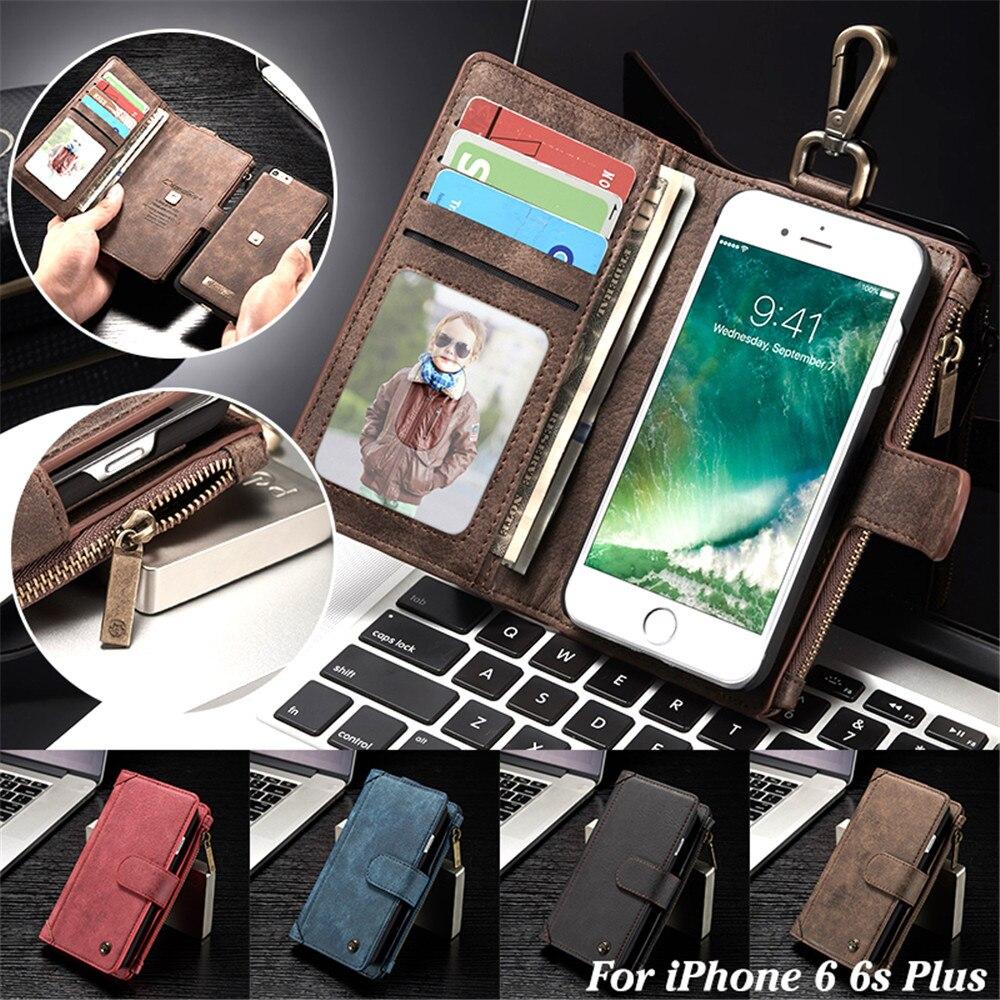Съемная Магнитный кожаный бумажник чехол для iPhone 6 6S Plus крюк-петля ремень флип Слот для карты для Apple Iphone 6 6S плюс крышка