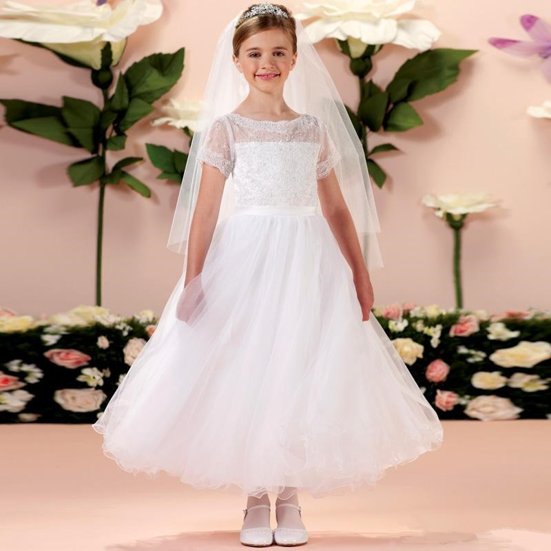2016 New White Lace First Communion   Dress   Sheer Tea Length Short Sleeves Kids Special Occaison   Flower     Girls     Dresses   For Weddings