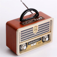 Full Band Radio Mp3 Vintage Speaker Retro Audio System Bluetooth Column Boombox Active Box Wood Portable Acoustics Sound Box