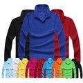 Los hombres de color sólido ocasional da vuelta-abajo camisa de polo de manga larga jersey encima