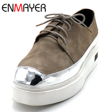 ENMAYER Spring/Autumn Shoes Woman Square Toe Shallow Med Heel Girls Casual Platform Lace-up Pumps Lades