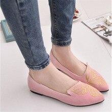 Новое Прибытие Slip On Shoes Весна Лето Осень Женщины Удобные Дышащие Печати Квартиры Flock Острым
