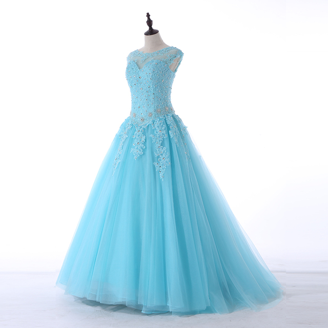 Favordear Scoop Aqua Scarlet Blush Ball Gown Prom Gowns 2018 Lace ...