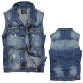 Denim Vest Male  Jean Vest For Men Gilet Jeans Uomo Colete Jeans Masculino 100% Cotton Denim Vest Male Sleeveless Denim Jacket