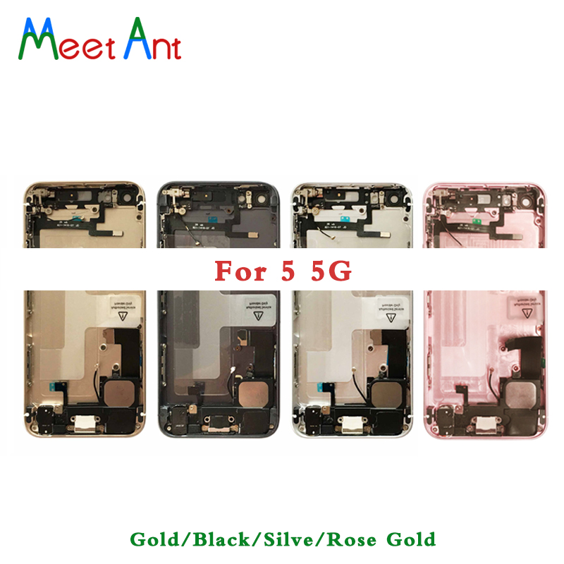 10Pcs High Quality For iphone 5 5G 5S Back Middle Frame Chassis Full Housing Assembly Battery Cover Door Rear with Flex Cable