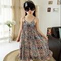 Meninas novas roupas de verão 5-12 idade meninas de algodão impressas Varejo macacão calças perna larga