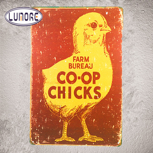 Farm Bureau Chick Co Op Chicken Vintage Retro Replica Wall Decor Tin