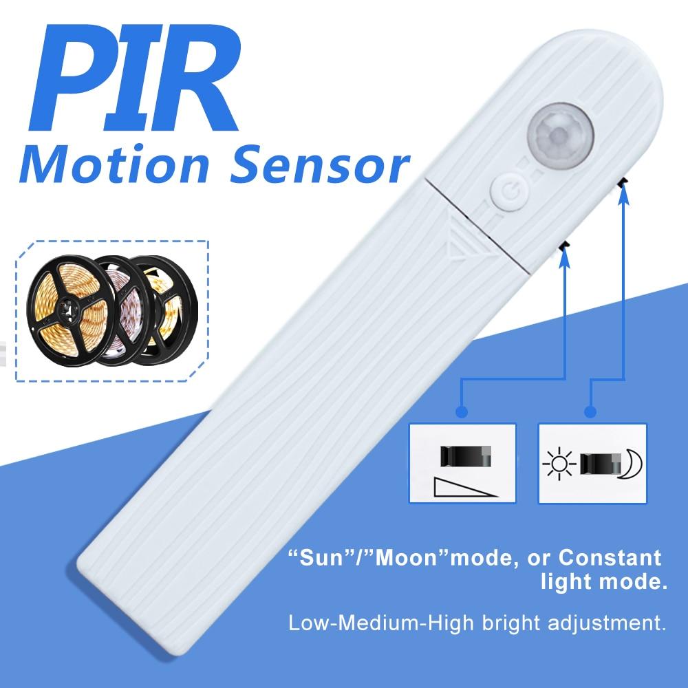 PIR Motion Sensor DC5V LED Strip Lamp LED Cabinet Light 2835SMD Waterproof Kitchen Fita LED Bedroom Closet Night Lights 1m 2m 3m in Under Cabinet Lights from Lights Lighting