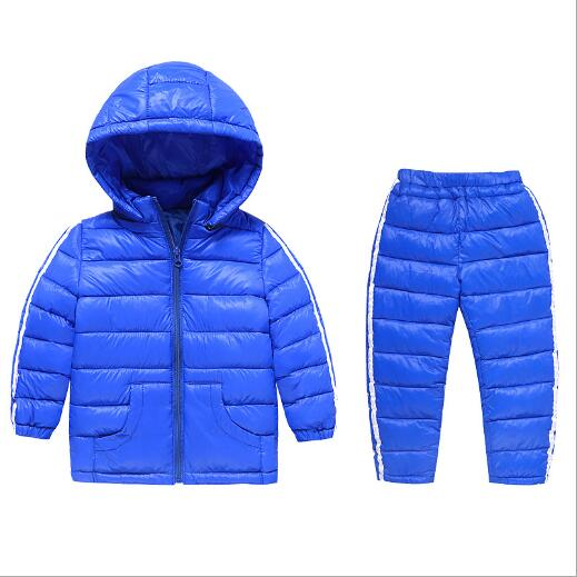 Children Set Boys girls Clothing sets winter 2-8year hooded Down cotton Jacket + Trousers Waterproof Snow Warm kids Clothes suit