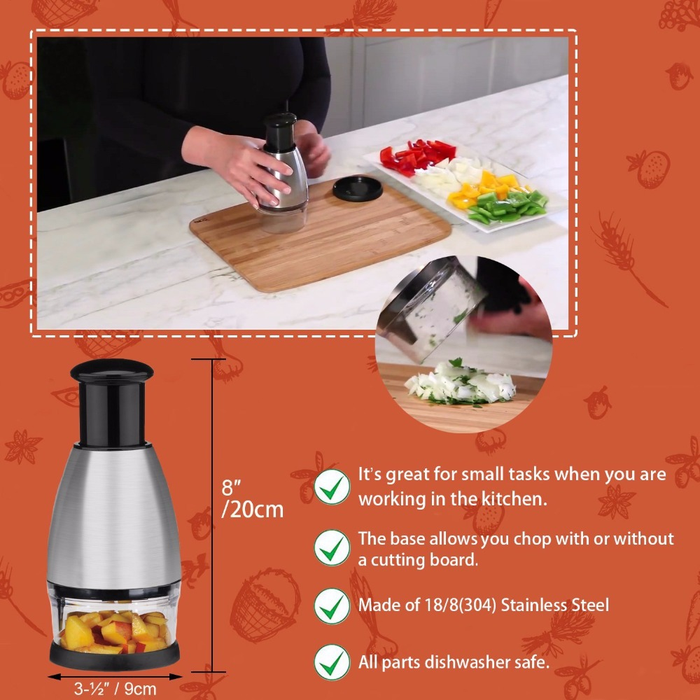 Amazing Stainless Steel Vegetable Chopper Fruit Chopper of Garlic Onion Slicer Dicer Cutter Kitchen Accessories Herbs and Spice Tools 3