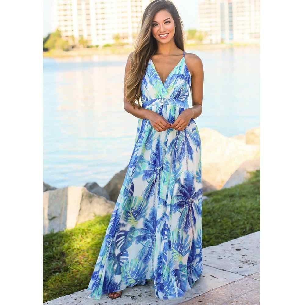 Femmes été Boho Maxi longue robe soirée fête robes de plage robe d'été imprimé Floral Sexy dos nu robe D190502
