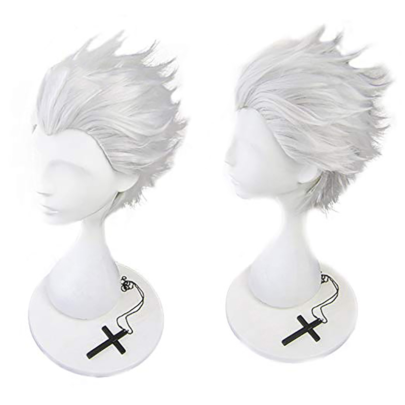 Ebingoo Fate Stay Night Emiya Shirou Synthetic Cosplay Wig Shaggy Layered Short Straight White Blonde Silver Wig For Role Play