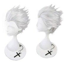 Ebingoo Fate Stay Night Emiya Shirou Синтетический Косплей парик лохматый слойный короткий прямой белый светлый Серебряный парик для ролевых игр