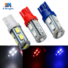 цена на Free Shipping 10-100pcs 12V T10 5630 9 SMD Led Light Bulbs Indicator Turn Tail Door W5W White Red Blue Lights for Car SUV 4x4