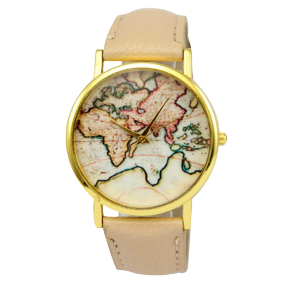 Women Girl Pattern World Map Watch Quartz Faux Leather Analog Wrist Watches Wholesale faux leather strap world map face watch
