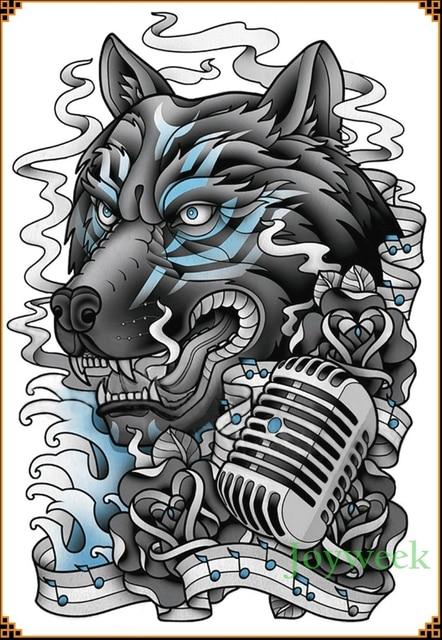 Tatuaje Temporal Resistente Al Agua Pegatina Lobo Cantante Gran