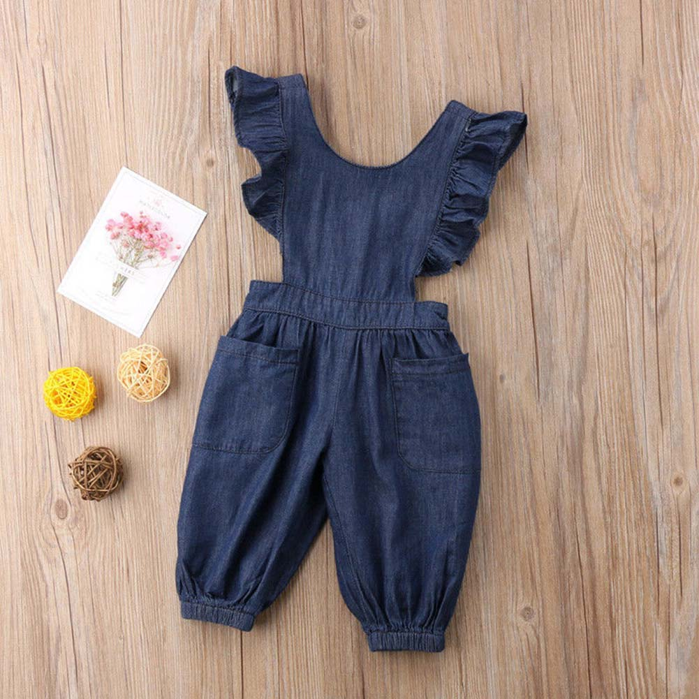 Children Kids Girl Denim Jumpsuit Jumper Bodysuit Sleeveless Backless Summer Clothing YH-17
