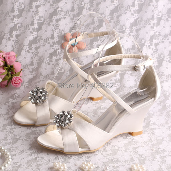 (20 Colors)Wholesale 2015 New Wedges Lady Sandals Shoes Ivory Satin Size 7 Dropshipping