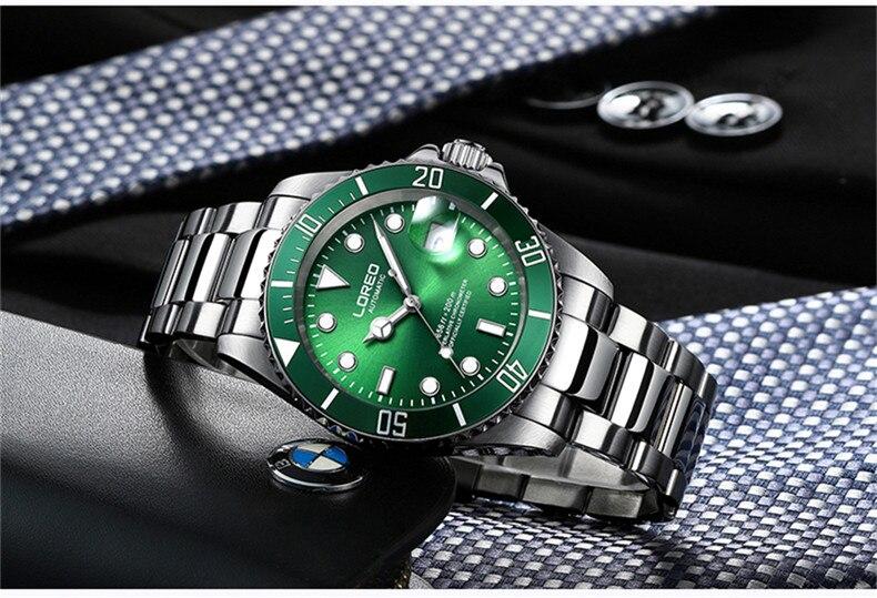 LOREO мужские деловые автоматические механические часы, мужские наручные часы, наручные часы из нержавеющей стали, мужские часы для дайвинга, ... - 3