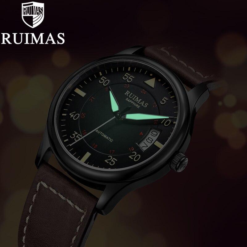 Ruimas التلقائي الميكانيكية ووتش رجل الفاخرة الأعمال الكلاسيكية Miyota أعلى العلامة التجارية مضيئة الذكور الساعات الرجعية ساعة اليد Relogio-في الساعات الميكانيكية من ساعات اليد على  مجموعة 3
