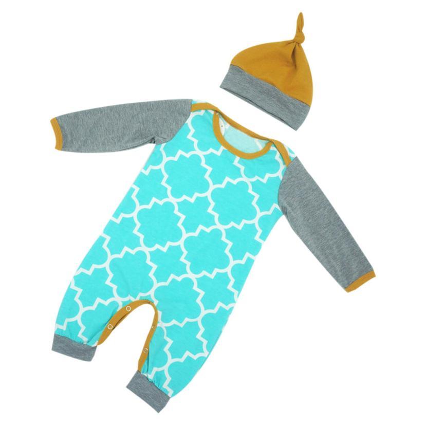 2018 модная детская одежда для малышей для маленьких мальчиков с длинными рукавами для девочек ползунки Набор одежды + Шапка удобная и дышаща... ...