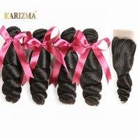 karizma Brazilian Hair Weave Bundles With Lace Closure 4 Bundle Deals Non Remy Human Hair Loose Wave Bundles With Closure