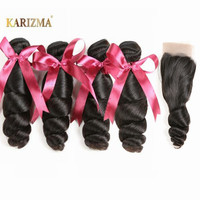 karizma Brazilian Hair Weave Bundles With Lace Closure 4 Bundle Deals Non Remy Human Hair Loose Wave Bundles With Closure