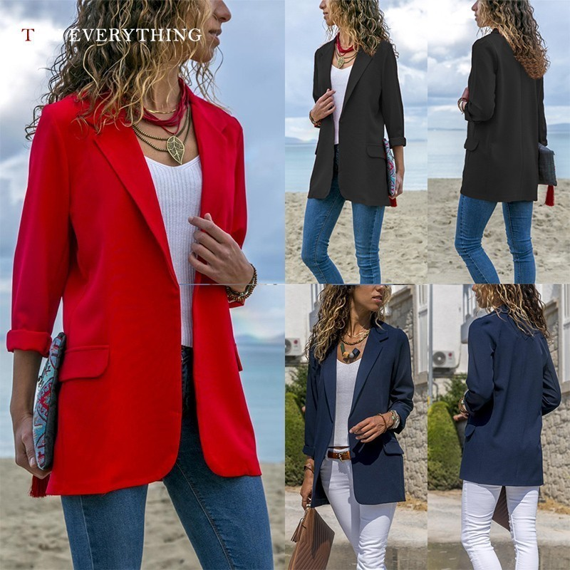 Red Blazers Womens Long Sleeve Casual Blazer Women Long Black Women Blazer Female American Blazer Woman 2019 Autumn