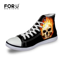 Black Classic Men Shoes High-top Skull Canvas Shoes,Cool Men's Casual Flat Walking Shoes Leisure Male Street Skull Shoes Plus