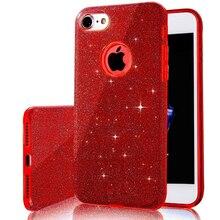 Гибридный 3 слоя красный глянцевый блеск Искра Bling противоударный защитный телефон чехлы для iPhone 7 6S плюс 7 Plus Капа