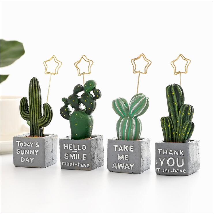 New Resin Kawaii Cactus Wedding Photo Clip Memo Note Holder Message Paper Clip Card  Desk Holder Office Home Table Decoration