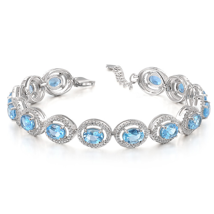 Natural Topaz 925 Sterling Silver beautiful link bracelet Women s Girl Crystal birthday gift Birthstone Blue